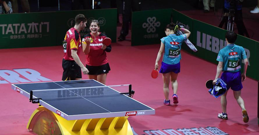 Patrick Franziska und Petrissa Solja hatten bei der WM in Budapest Grund zur Freude. Foto: picture-alliance