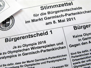 Mehrheitlich sprachen sich die Einwohner von Garmisch-Partenkirchen am Sonntag für Olympische Spiele 2018 aus. Foto: picture-alliance