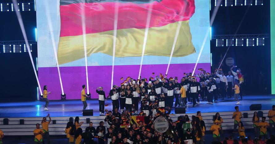 Einlauf des Jugend Team D beim EYOF 2019 in der Crystal Hall in Baku. (Bild: DOSB)