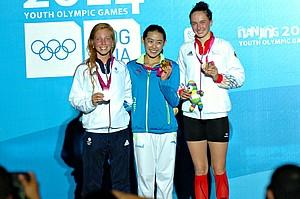 Die Moderne Fünfkämpferin Anna Matthes strahlte bei der Siegerehrung. Sie holte Bronze im Einzelwettbewerb.