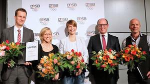 Ausgezeichnete Sportwissenschaftler*innen:  Joachim Wiskemann, Monika Frenger, Theresa Hoppe, Stefan Brost und Christian Puta (v.l.). Foto: DOSB