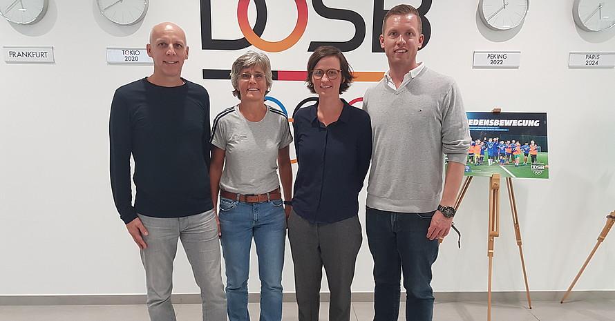 Von links: Michael Nees, Monika Staab, Dr. Carolin Braun, Oliver Scheer beim Auslandsexpertenforum 2019 im Haus des Deutschen Sports. (Bild: DOSB)