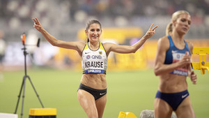 Gesa Krause gewinnt in Doha Bronze im 3.000 Meter Hindernislauf. Foto: picture-alliance