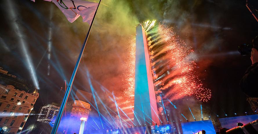 Feuerwerk am Ende der Eröffnungsfeier der Olympischen Jugendspiele in Buenos Aires. Foto: IOC/OIS