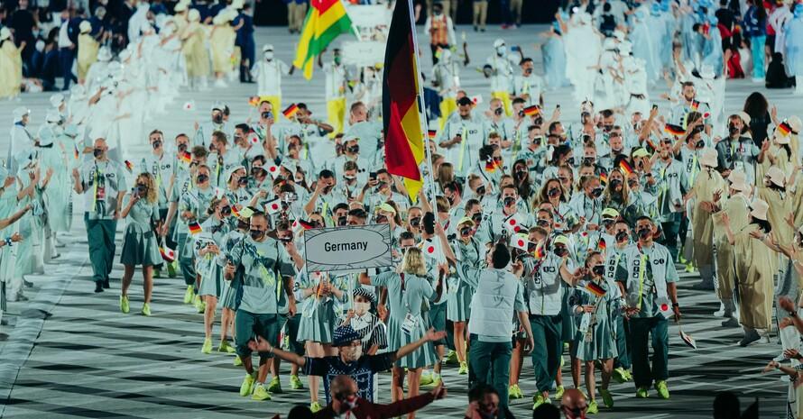 Einmarsch des Team Deutschland bei der Eröffnungsfeier der Olympischen Spiele in Tokio; Foto: Philipp Reinhard
