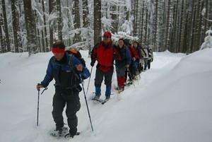 Mit Schneeschuhen durch den verschneiten Winterwald - ein abenteurliches Vergnügen, Copyright: picture-alliance/dpa