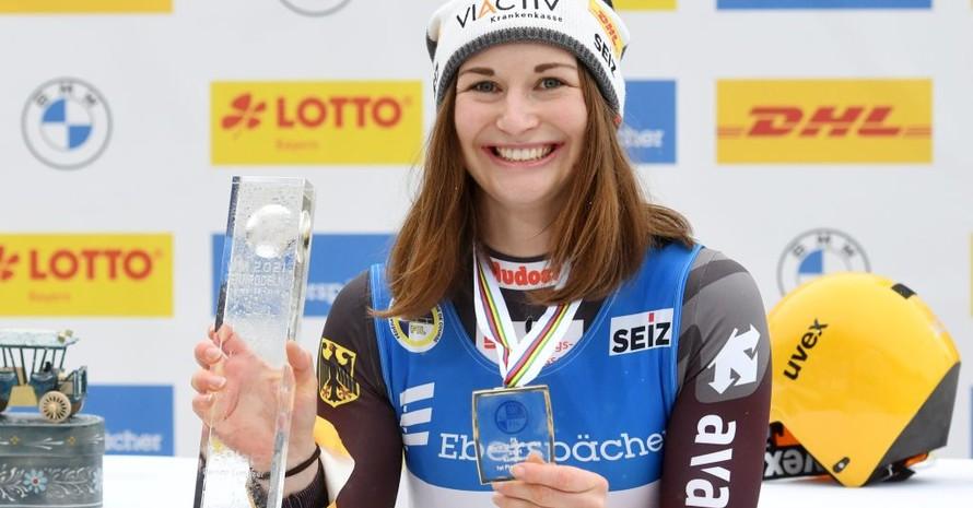 Rennrodlerin Julia Taubitz wird Weltmeisterin auf der Kunsteisbahn am Königssee. Foto: picture-alliance