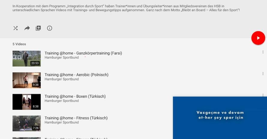Auf dem YouTube Kanal des Hamburger Sportbundes sind alle Videos zu finden.