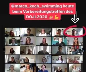 Olympiateilnehmer Marco Koch (eingekreistes Bild) beantwortete geduldig die Fragen der Teilnehmer*innen. Foto dsj