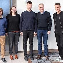 Nico Kempf, Fußball-Weltmeisterin Pia Wunderlich, Blindenfußball-Nationalspieler Alexander Fangmann und Michael Arends vom SV Werder Bremen. Copyright: Carsten Kobow