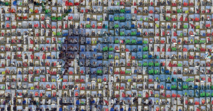 Die jungen Athleten konnten sich vor der Pressewand der Bewerbungsgesellschaft vom München 2018-Team fotografieren lassen und erhielten am Abend ein Foto-Mosaik mit Bildern aller Teilnehmer in Form des München 2018-Logos. Foto: München 2018