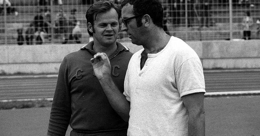 Hermann Salomon (re.) mit dem Olympiasieger im Speerwerfen von 1968 Janis Lusis. Foto: Imago