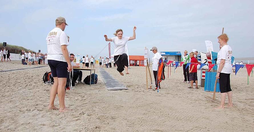 Der Sportstrand auf Langeoog bot optimale Bedingungen für das Sportabzeichen. (Foto: Marco Dames)