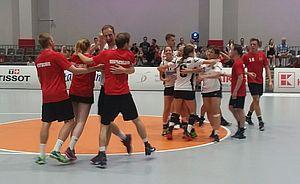 Großer Jubel über den Halbfinaleinzug. Foto: Korfball.de