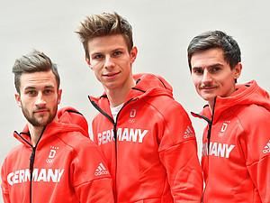 Sie sind in PyeongChang dabei: Die Skispringer Markus Eisenbichler, Andreas Wellinger und Richard Freitag (v.l.). Foto: picture-alliance