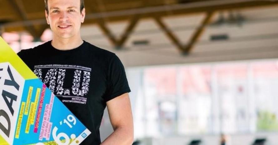 Paul Biedermann engagiert sich bei der Sportabzeichen-Uni-Challenge 2019 für seine Heimatstadt Halle. (Foto: Martin-Luther-Universität Hall-Wittenberg)