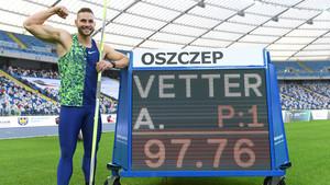 Johannes Vetter bei seinem Rekord im polnischen Chorzów. Foto: picture-alliance