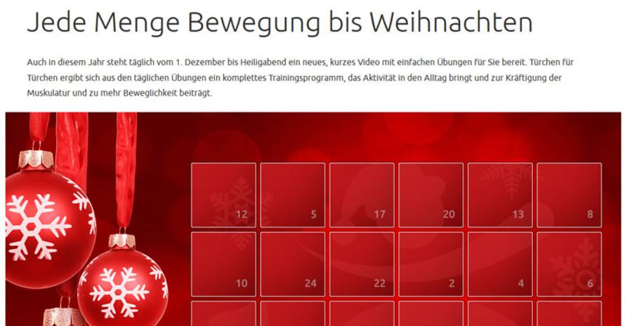 Jeden Tag eine einfache Übungen nachturnen mit dem Online-Adventskalender. Copyright: www.aelter-werden-in-balance.de