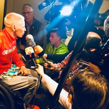 Andrea Eskau beim Empfang der Paralympischen Mannschaft in Frankfurt. Foto: DOSB
