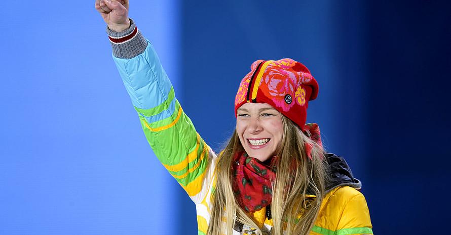 2014 gewinnt Amelie Kober bei den Olympischen Spielen in Sotschi die Bronzemedaille. Foto: picture-alliance