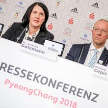 Andrea Gotzmann und Michael Cepic (v.l.) bei der Pressekonferenz in PyeongChang im Deutschen Haus. Foto: picture-alliance