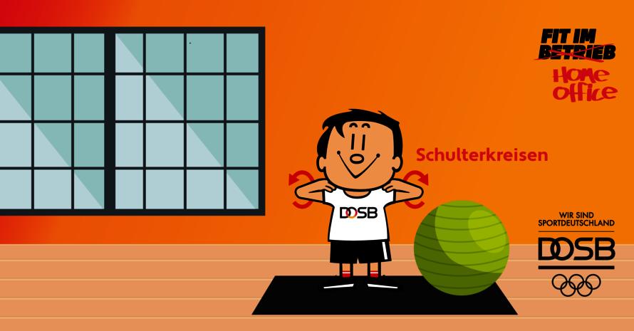 Trimmy macht die Übung Schulterkreisen im Home Office. Er steht auf einer Gymnastikmatte, auf der auch ein großer Gymnastikball liegt.Im Hintergrund ist ein großes Fenster zu sehen.