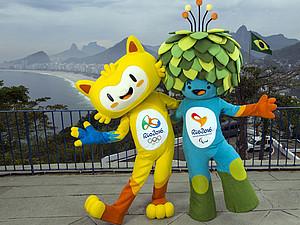 Die Maskottchen der Spiele 2016: Vinicius und Tom. Foto: picture-alliance