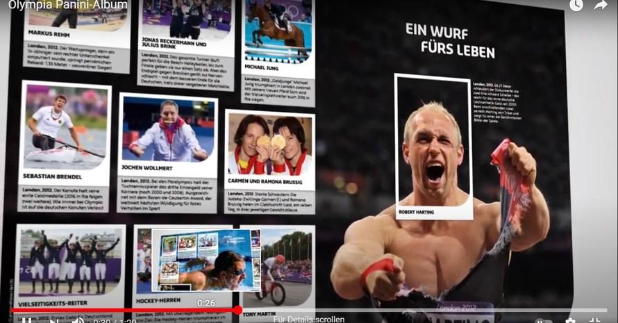 HistorischeMomenterund um die Olympischen Spiele leben im Panini-Album wieder auf. Foto: Screenshot einer Doppelseite mit Diskus-Olympiasieger Robert Harting