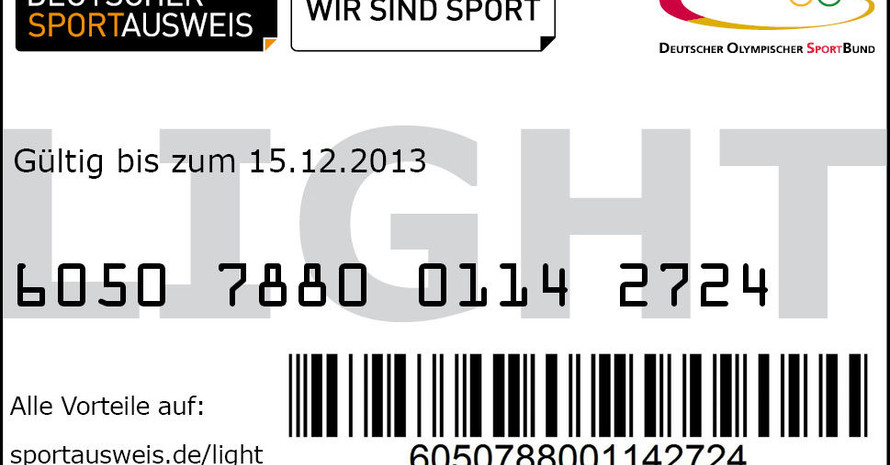 "So sieht der Sportausweis ""light"" aus. Foto: Deutscher Sportausweis GmbH"