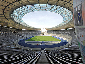 Das Olympiastadion in Berlin ist vom 6. bis 12. August 2018 Schauplatz der Leichtathletik-Europameisterschaften. Foto: picture-alliance