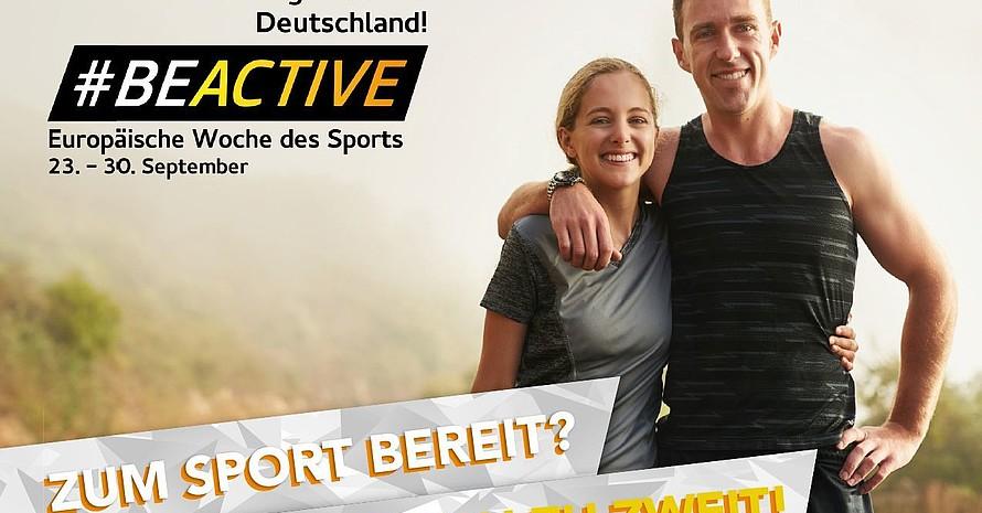 """""""Zum Sport bereit? Kommt doch zu zweit!"""" ist eine Postkartenaktion des DTB. Foto: DTB"""
