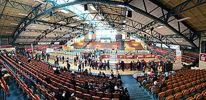 Blick auf die Spielfelder in der Anhalt-Arena in Dessau