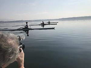 Der Deutschland-Achter beim Internationalen Rudersportevent BaselHead im November 2018 am Rheinufer in Basel. Foto: picture-alliance