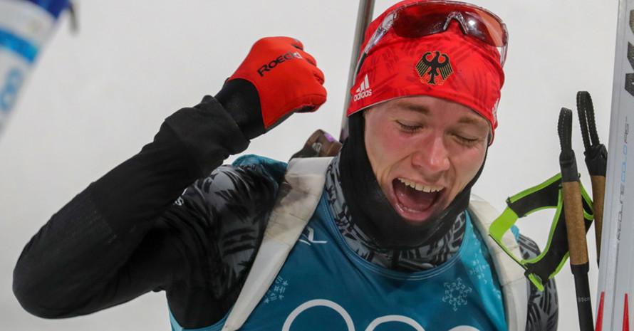 Jubel über Bronze: Benedikt Doll gewinnt die vierte Medaille für die Biathleten (Foto: Picture Alliance)