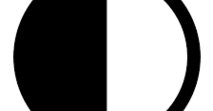 Logo: Ein Kreis, der zur Hälfte weiß und zur andern Hälfte schwarz ist.
