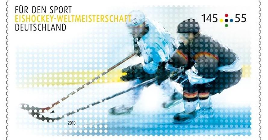 Ein Marke für das nächste Top-Event in Deutschland: Am 7. Mai beginnt in Gelsenkirchen die Eishockey-WM. Foto: Stiftung Deutsche Sporthilfe