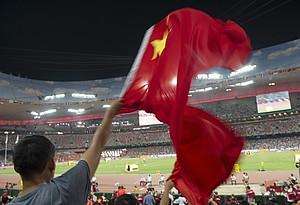 Fahnen schwenkende Fans bei internationalen Wettkämpfen wird man in China wegen des dort grassierenden Coronavirus bis auf Weiteres nicht sehen. Foto: picture-alliance