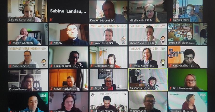 DOSB-Screenshot vom Kreis der Teilnehmenden