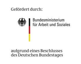 """Logo """"Gefördert durch das Bundesministerium für Arbeit und Soziales"""""""