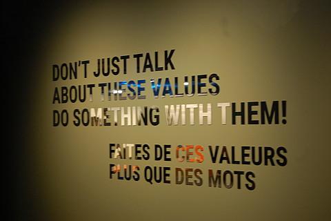 Zitat aus der Ausstellung des Olympischen Museums in Lausanne: Sprecht nicht nur über die Werte, macht etwas daraus! (Foto: DOSB)