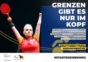 Tischtennisspielerin Stephanie Grebe wirbt für #StarteDeinenWeg. Foto: DBS/Binh Truong
