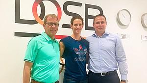 Im Gespräch über Duale Karriere: (v. l.) Sven Baumgarten, Lena Schöneborn, Robert Bartko (Foto: DOSB)