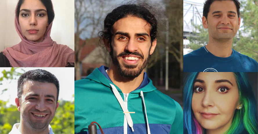 Parisa (v.l.o.), Wael, Shugaa, Pouria, Melina mussten ihr Heimatland verlassen (Foto: Gitti Kraußer, Joung, privat).
