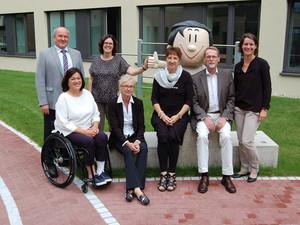 Die Jury mit Matthias Nagel (BMAS), Katja Lüke (DOSB), Ute Blessing-Kapelke (DOSB), Bettina Schilling (SOD), Karin Fehres (DOSB), Thomas Härtel (DBS) und Veronika Rücker (DOSB  Führungs-Akademie) (v.l.). Foto: DOSB