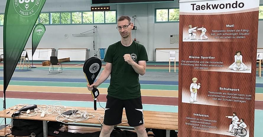 Die Taekwondo Mitmach-Station des USV Halle Quelle: USV Halle