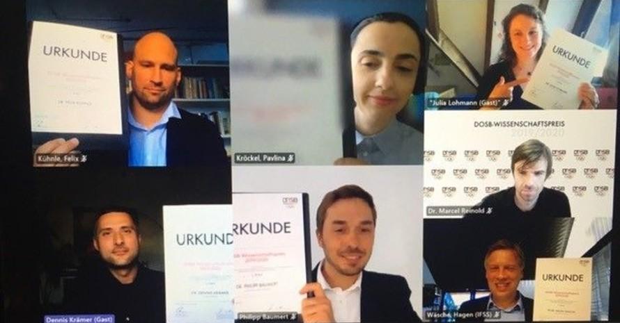 Die Preisträger*innen bei der virtuellen Vergabe des DOSB-Wissenschaftspreises 2019/20; Copyright: DOSB