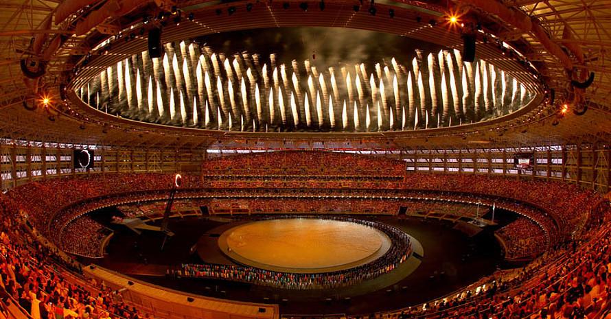 48.000 Sitzplätze fasst das Olympiastadion in Baku. Wie bereits bei der Eröffnung wird es auch bei der Schlussfeier voll sein. Foto: Getty Images for BEGOC
