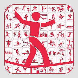 Pikotgramme der paralympischen und nicht-paralympischen Sportarten. Grafik: DOSB/DBS