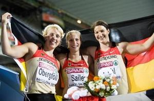 Drei erfolgreiche Athletinnen bei der Leichtathletik-EM in Barcelona (v.li.): Obergföll, Sailer, Stahl, Copyright: picture-alliance