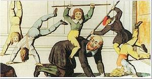 """Der kolorierte Kupferstich um 1819 von Johann Michael Voltz trägt den Titel """"Turner Umtriebe"""". (Quelle: WWU)"""